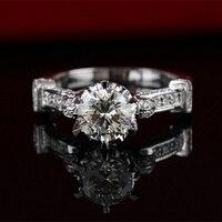 S925スターリングsilveの高級高品質シミュレーションモアッサナイトカラットウェディング婚約指輪ファッションリング女