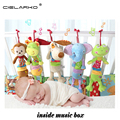 Cielarko Baby Cartoon Music Animal bed bell toy baby pram stroller bed appease plush doll infant hanging rattles toys lyj148