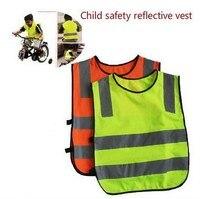 100 шт. светоотражающий жилет Вязание полиэстер Ткань дети светоотражающий Детская безопасность жилет Дети высокая видимость безопасности