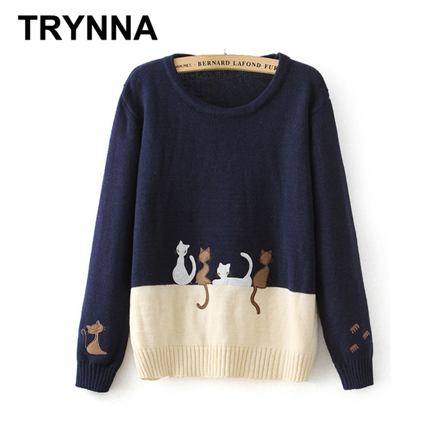 Women Pullover Sweaters Short Style Black and White Cute Knitting ...