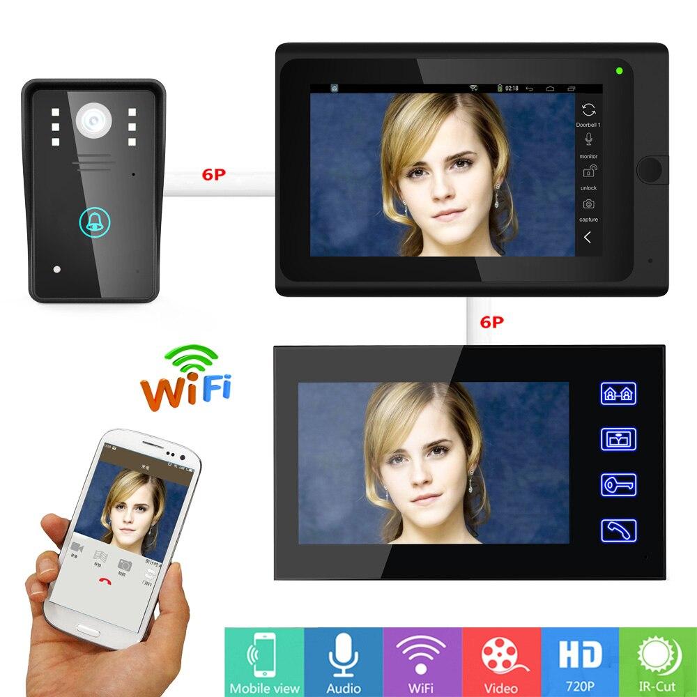 "7"" 2 Monitors Wired /Wireless Wifi Video Doorbell Intercom System with IR-CUT HD 1000TVL Wired CCD Camera Night"