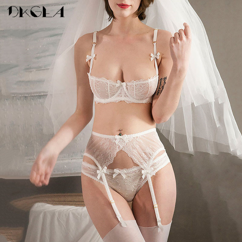 Embroidery Lingerie Set Women 1/2 Cup White Sexy Bra Set 3 Piece Bra+Panties+Garter Lace Brassiere Transparent Underwear Set 1