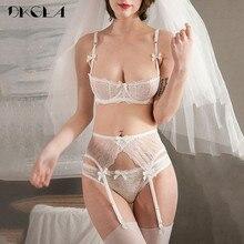 Nakış iç çamaşırı seti kadın 1/2 fincan beyaz seksi sütyen seti 3 parça sutyen + külot + jartiyer dantel sütyen şeffaf iç çamaşırı seti