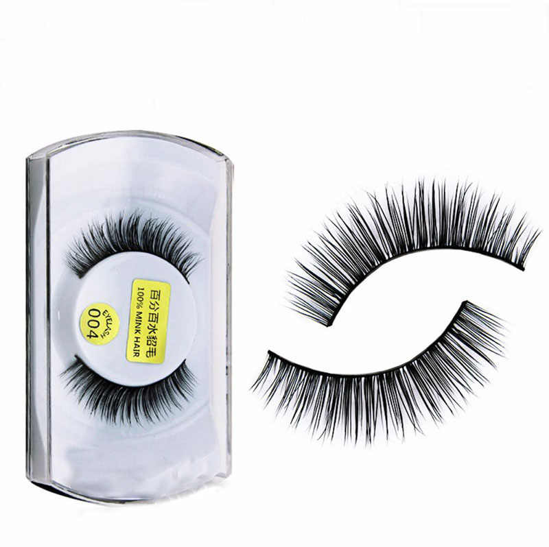 3aede86f353 100% Mink 3D Eyelashes Natural Hair False Eyelashes Handmade Korea Strip  Wispies Fake Lashes Eyelash