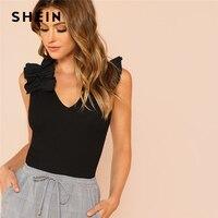 Шеин черный элегантный сексуальный рюшами отделкой рукавов ребра вязать V образным вырезом летняя футболка для женщин выходные повседнев