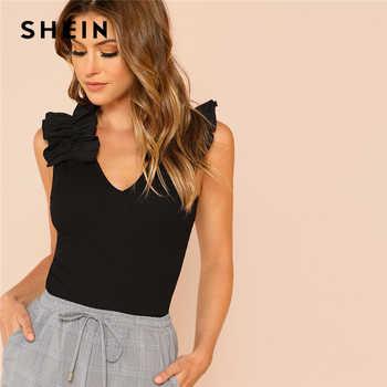 SHEIN Black Elegant Sexy Ruffle Trim Sleeveless Rib Knit V Neck Tee Summer Women Weekend Casual T-shirt Top - DISCOUNT ITEM  40% OFF All Category