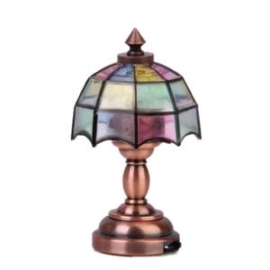 OMO 1:12 Dollhouse Miniature Wireless Bronze Metal Led Desk Lamp Umbrella Shape(Hong Kong,China)
