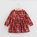 Red Sun Flower Girl Dress Korean princess  pleated Floral Cotton clothing manufacturers selling on behalf of