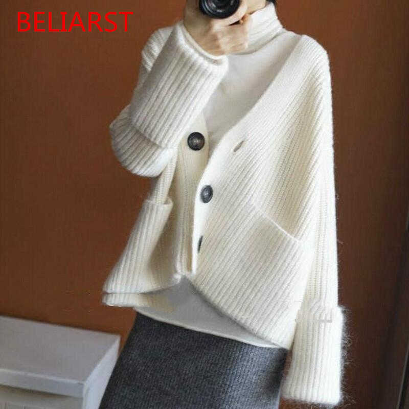 BELIARST/2018 новый весенне-осенний кашемировый шерстяной свитер модный кардиган с v-образным вырезом Теплый Свободный вязаный свитер