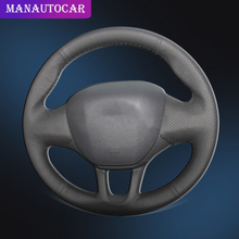 Auto Braid On The Steering Wheel Cover for Peugeot 208 2008 Car-styling Interior Accessories DIY Car Covers