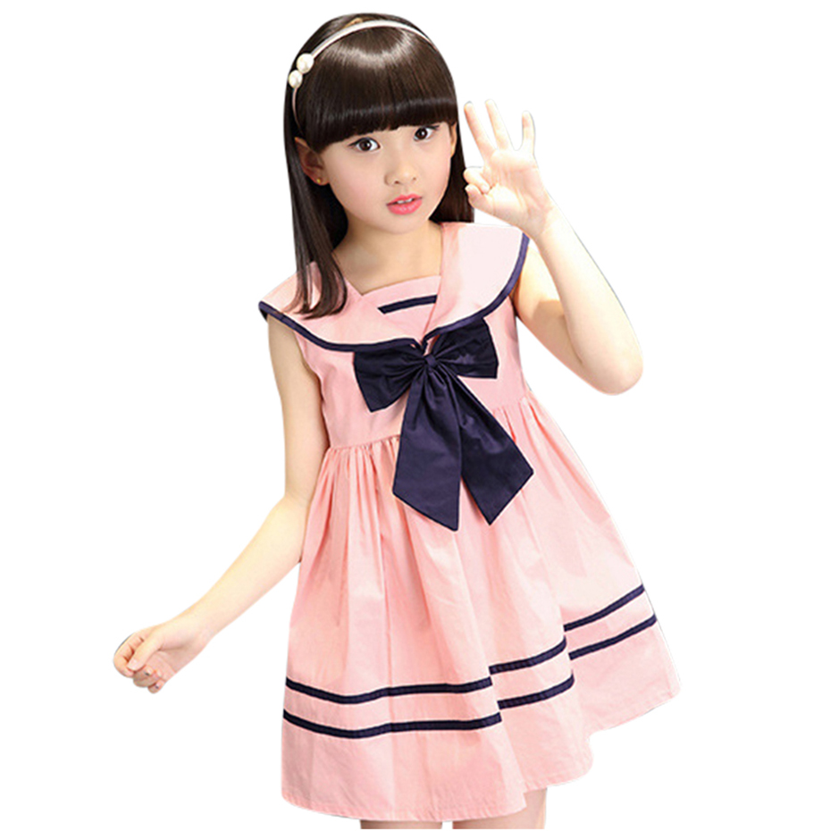 Girl Dress Sailor Collar Vestidos For Children Big Bow Dress For Girl Teenage Kids School Clothes Girls 6 8 10 12 13 14 Year girl