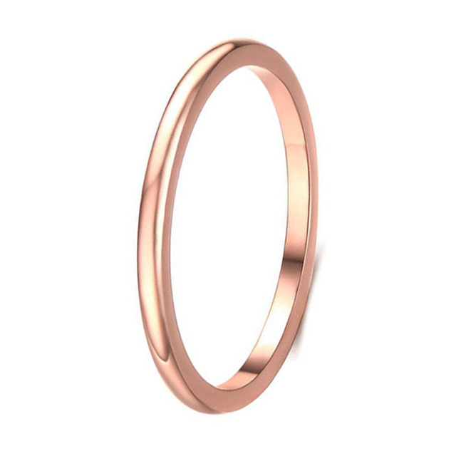 Rose Gold Color 316L Stainless Steel 2mm Thin Classic Plain Band