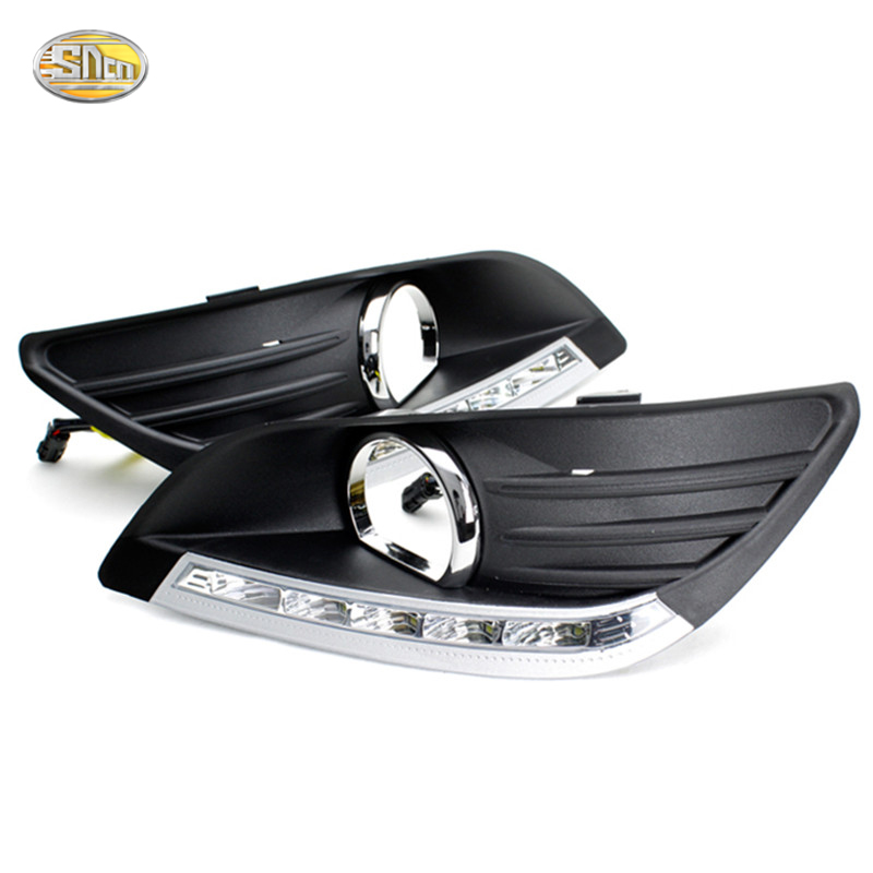 SNCN LED Daytime Running Lights for Ford Focus sedan 2009 2010 2011 2012 2013 DRL front fog lamp cover abs chrome front grille around trim for ford s max smax 2007 2010 2011 2012