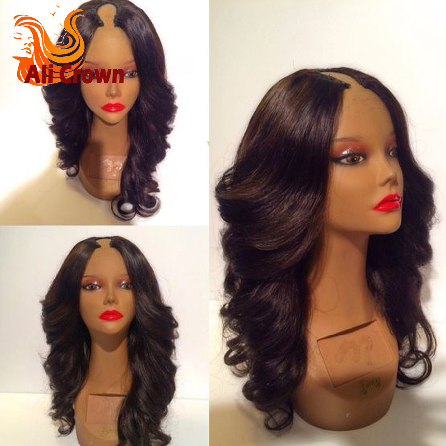 Wavy Human Hair U Part Wigs For Black Women Top Quality 8-26 Inch Body Wave Upart Malaysian Wigs Human Hair Middle Part Wigs (2)