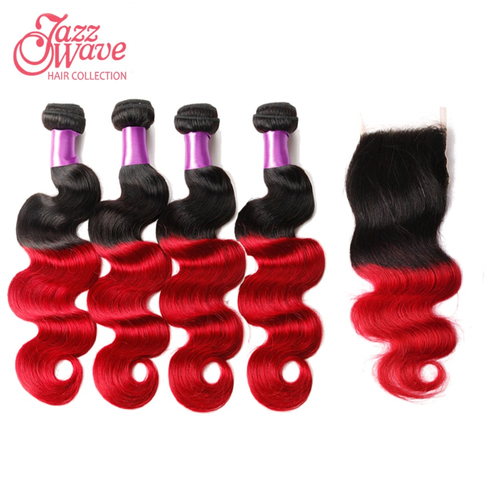 ombre red human hair weaves
