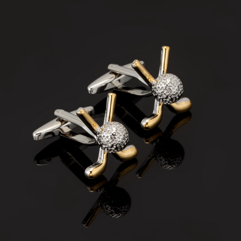 2017 jewelry shirt cufflinks for mens Brand cuff button manchette gold silver golf cuff link High Quality abotoaduras Jewelry