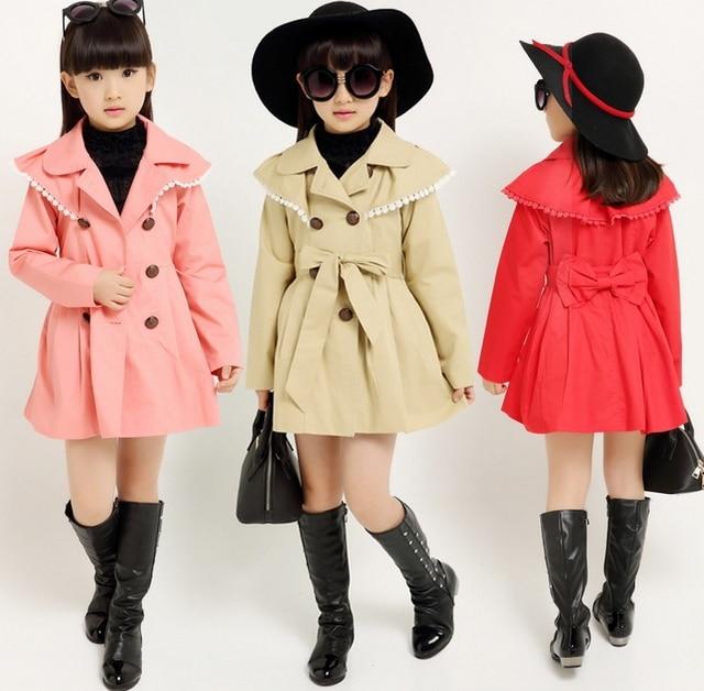 21b2e2b8c40a girls trench coat children coat 2015 autumn winter outwear kids ...