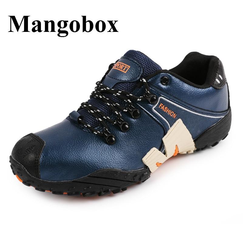 ФОТО Men Outdoor Shoes Waterproof Mountain Shoes Men Black Leather Hiking Men Sneakers Large Size Walking Shoes For Men