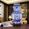 Artesanal Azul Branco Porcelana Chinesa Candeeiro de Mesa Sala de estar Vaso de Cerâmica Decorativa Moderna Lâmpada de Mesa de Escritório Em Casa TLL-299