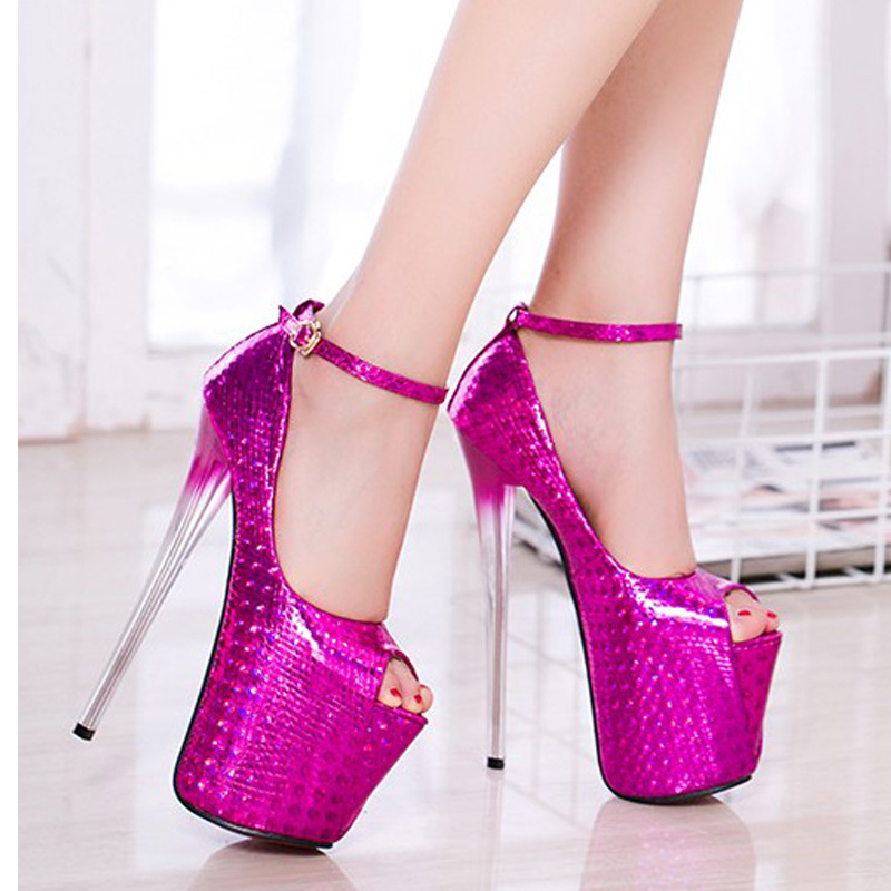 19cm High Heels Sexy Lady Pumps Peep Toe Platform PU Leather Women Pumps Buckle Strap Party Club Shoes Zapatos Mujer Plataforma apoepo brand 2017 zapatos mujer black and red shoes women peep toe pumps sexy high heels shoes women s platform pumps size 43