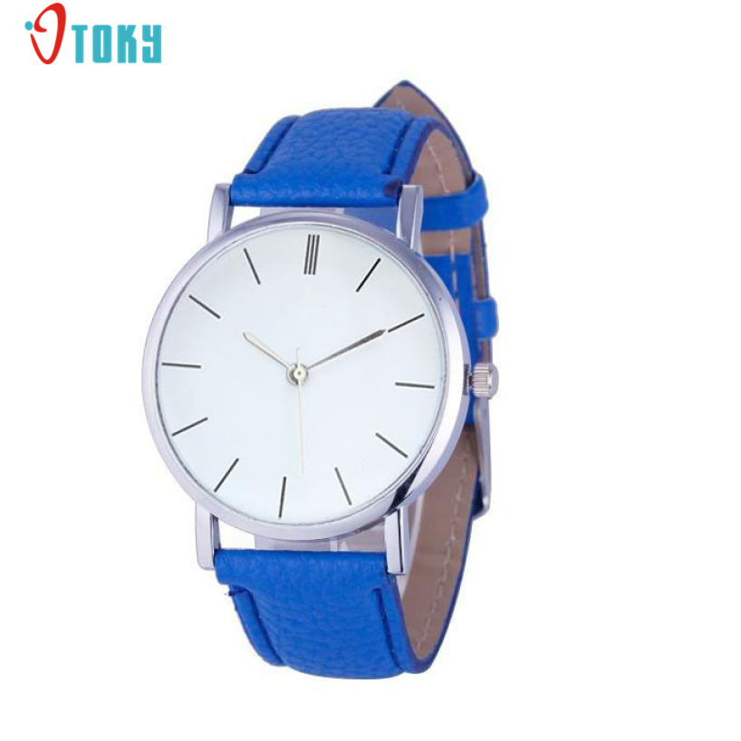 Womens Clocks Fashion Women Watches Leather Silver Bezel Quartz Wrist Watch Creative Reloj Mujer May09