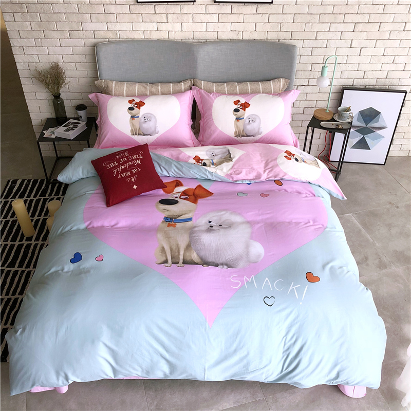Cartoon dogs lovely bears 100% Cotton Bedding Set Printed Duvet cover set Bed Sheet Fitted Sheet Pillowcases Queen King size 4PcCartoon dogs lovely bears 100% Cotton Bedding Set Printed Duvet cover set Bed Sheet Fitted Sheet Pillowcases Queen King size 4Pc
