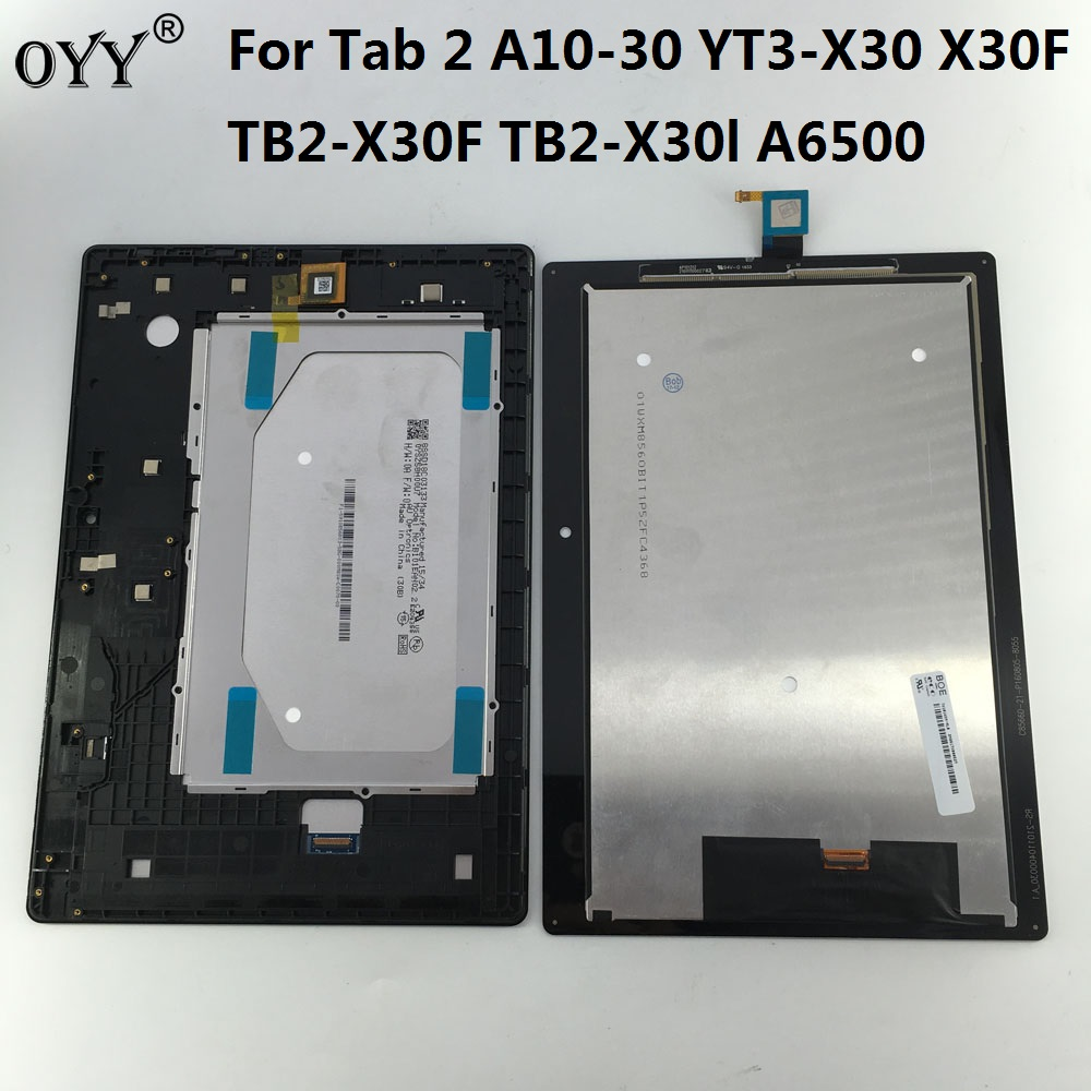 LCD display + touch screen digitizer Assembly Replacement Parts For Lenovo Tab 2 A10-30 YT3-X30 X30F TB2-X30F TB2-X30l A6500 replacement lcd digitizer capacitive touch screen for lg vs980 f320 d801 d803 black