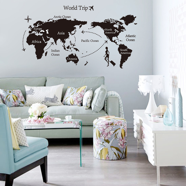 Creative home decor world map atlas wall sticker black printed creative home decor world map atlas wall sticker black printed bedroom decorative removable adhesive vinyl poster gumiabroncs Image collections