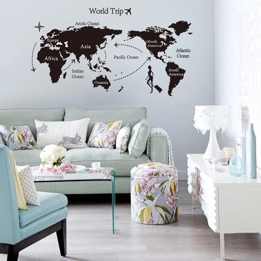 f37 World Wall Decal World Map Wall Sticker Large World Map Atlas Wall Vinyl