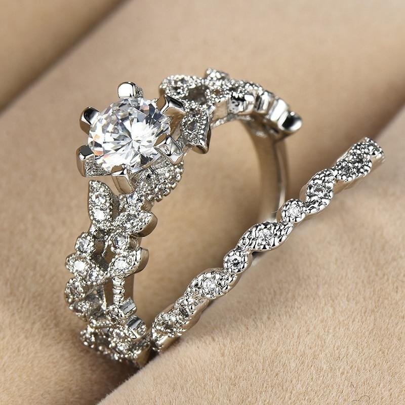 90%! Bague ronde blanche femme ensemble luxe 925 bague en argent Vintage alliance promesse bagues de fiançailles pour femmes