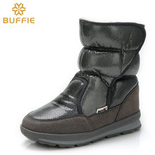 купить Fashion bright gray flat with antiskid thickening Winter Boots free shipping Buffie Brand Quality Women Snow Boots Mixed Natural дешево