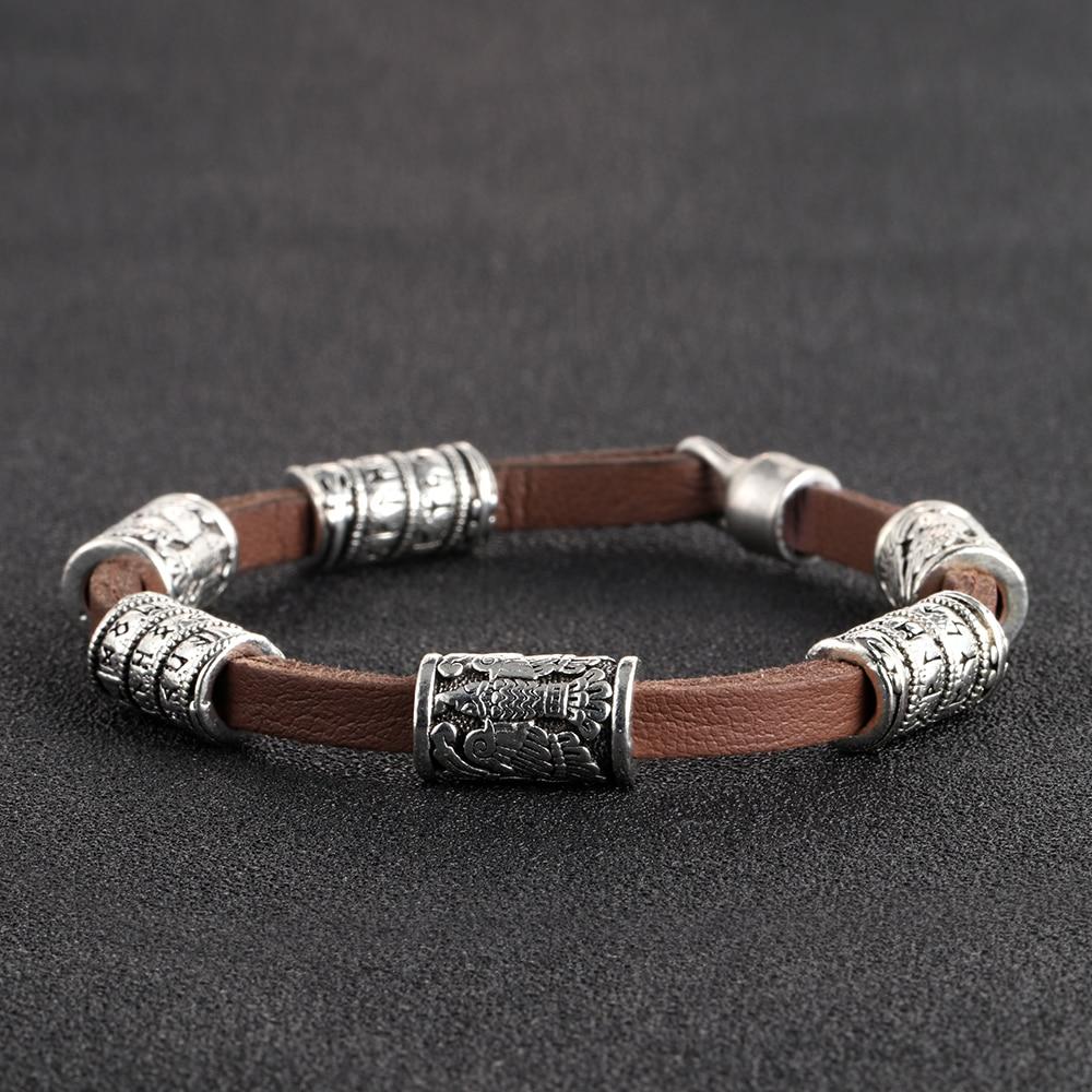 MYAROMA FINDINGS Brown Genuine Leather Bracelet Men Jewelry Silver Viking Runes Beads Trendy Casual Bracelets for Men Bangles nidin 2017 men jewelry brown genuine leather bracelets