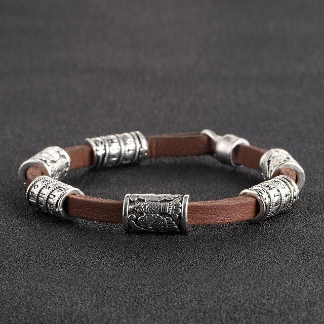 Myaroma Findings Brown Genuine Leather Bracelet Men Jewelry Silver Viking Runes Beads Trendy Casual Bracelets For