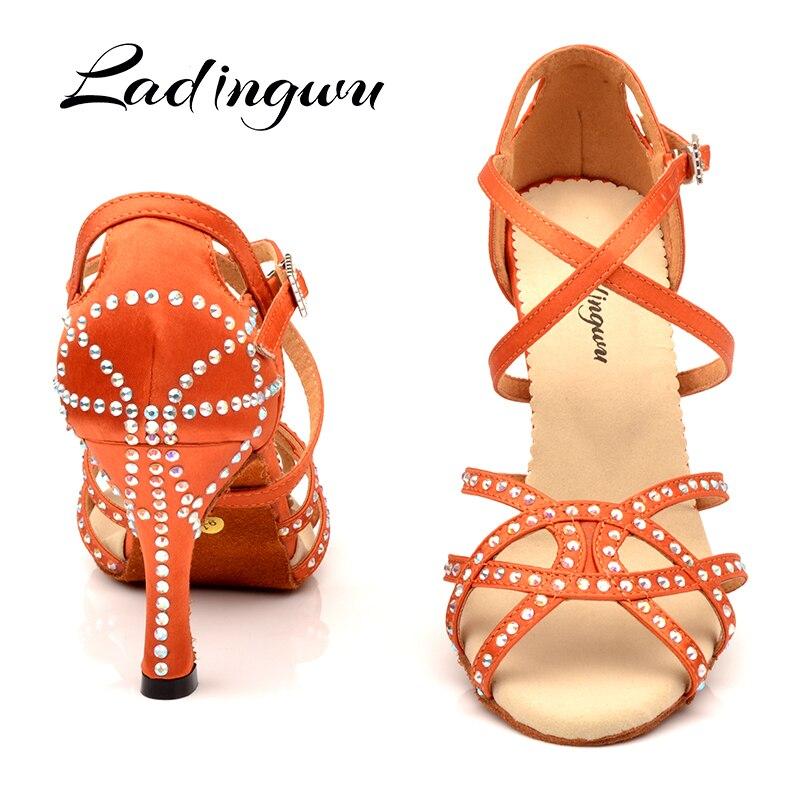 Ladingwu Dance Shoes Latin Women Rhinestone Salsa Shoes Dance Ballroom Party Profession Dance Shoes unique design