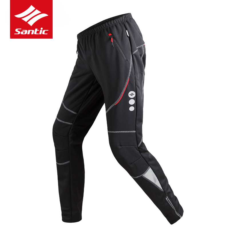 Santic Winter Cycling Pants Fleece Thermal Windproof Mountain Road Bike Pants Leisure Bicycle Sweatpants Pantalon Ciclismo