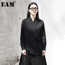 [EAM] 2020 New Spring Autumn  V collar Long Sleeve Black Loose Brief Waist Bandage Shirt Women Blouse Fashion Tide JI096