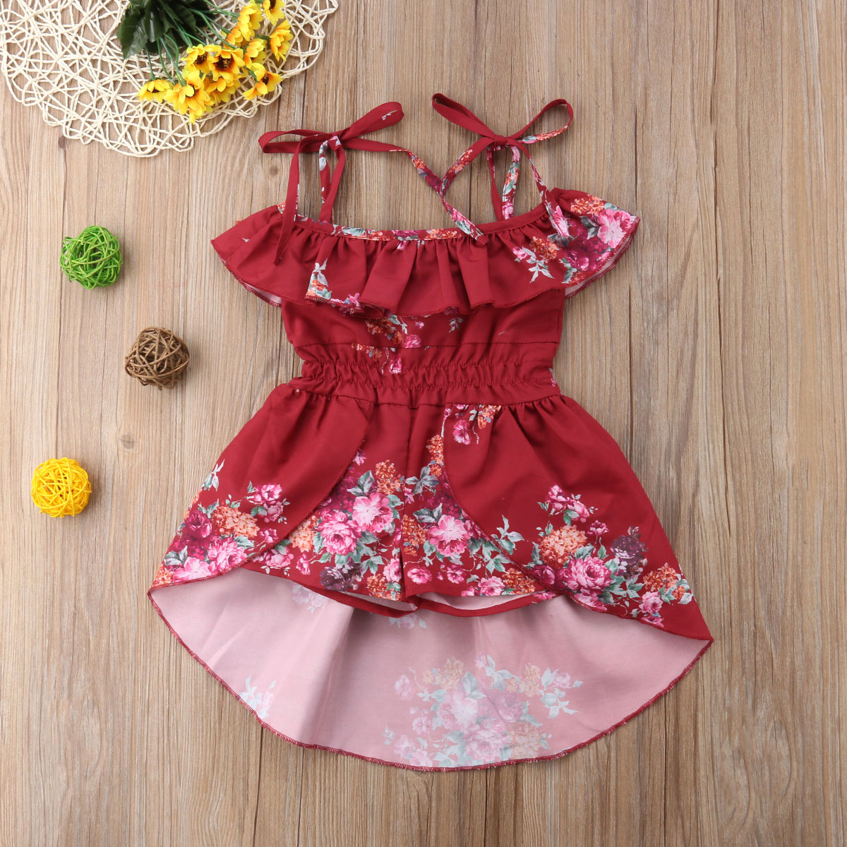 2706dfd341e 2018 Kids Baby Girl Off shoulder Floral Romper Jumpsuits Summer Strap Red Trousers  Outfits Dress-in Dresses from Mother   Kids on Aliexpress.com