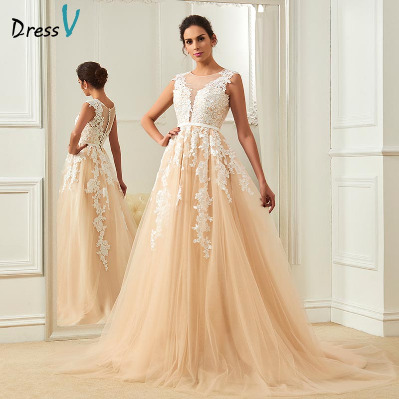 Dressv Champagne Wedding Dress Scoop Neck A Line Appliques Court Train Bridal Gowns Elegant Long Outdoor