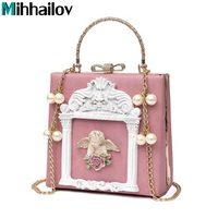 3D angel relief tote bags for Lady Wedding Clutch Bolsas Luxury Designer styles women handbag pearl chain shoulder bags XS 320