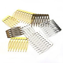 LOULEUR 10pcs/lot Gold Color 5/8/10 Teeth Metal Hair Comb Clips Claw Hairpins Jewelry Findings For Women Wedding