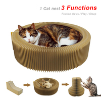 Cat Scratcher Cardboard Collapsible Cat Scratcher Lounge Bed Interactive Cat Toy Kitten Scratching Pad Toy For Playing