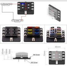 6-Way лезвие предохранителей блок держатель Светодиодный индикатор для 12 В 24 В Автомобиля Морской MA1284 автомобильные аксессуары