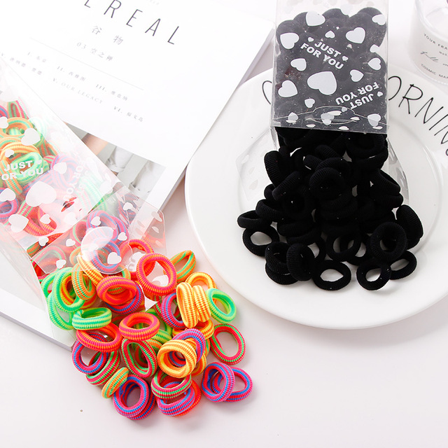 100PCS/Lot 3CM Cute Small Ring Rubber Bands Tie Elastic Hair Band 5