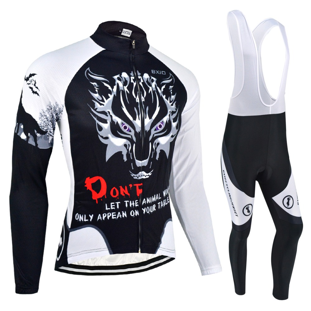BXIO Cycling Jersey Winter Thermal Fleece Long Sleeve Warm Kit Wolf Print Autumn Clothing Roupas De Ciclismo Maillot Hombre 068 genuine bxio winter thermal fleece blue cycling clothing pro team long sleeve bikes clothes uniformes de ciclismo hombre bx 069