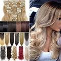 24inch 170g Curly Clip On Natural Hair Synthetic Hair Styling Clip in Hair Extensions 8 Piece Blonde New Color Hair Piece