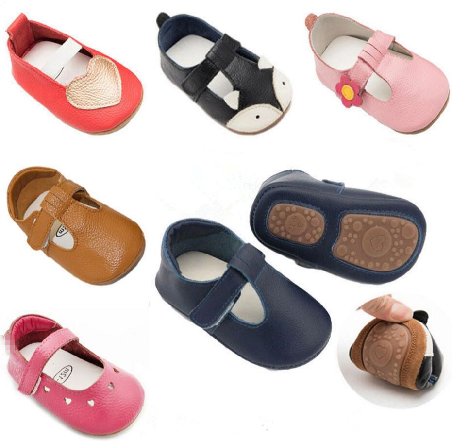 2019 New Hot Sell Hard Sole Summer Breathe Freely Genuine Leather T- Strap Style Baby Moccasins Shoes Baby Girl Boys Shoes