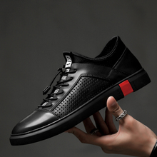 men genuine leather oxfords shoes luxury brand italian style male footwear shoes for men Breathable Flat Lace-Up Shoes big size