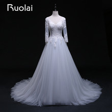 Real Picture 2016 V-Neck Three Quarter Sleeves Tulle A-Line Appliqued Wedding Dress Long Train Bridal Gown Wedding Ceremony FW10