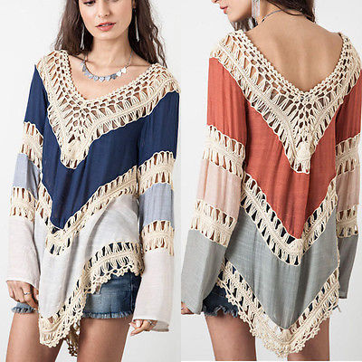 Hot New Sexy Women Clothing Vneck Long Flar Sleeve V-Neck Hollow Out Lace Crochet Knitwear Splice Blouse Tops
