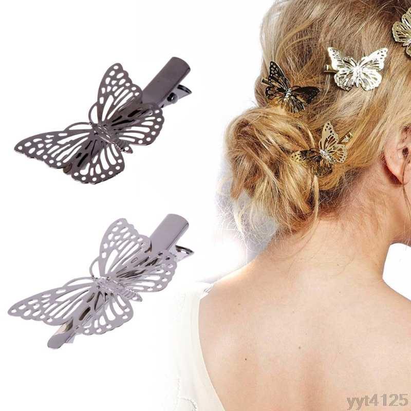 新新 est ファッション女性レディーガール金属蝶バレッタヘアクリップヘアピンアクセサリーかぶと固体装飾
